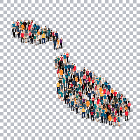Isometric set of styles, people, map of Malta , country, web infographics concept of crowded space, flat 3d. Crowd point group forming a predetermined shape. Creative people. Vector illustration. Photo vector.3D illustration. Transparent background . Isol