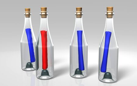 three blue messages and a red one in the transparent and closed bottles