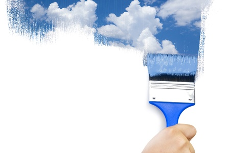 Photo for Painting sky / isolated on white with real paints texture / copy space for your text - Royalty Free Image