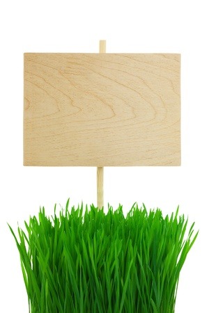 Empty wooden Sign with green Wheat Grass / isolated on white