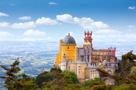 Aerial view of  Pal?cio da Pena - Sintra, Lisboa,  Portugal - European travel,  Horizontal