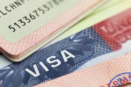 Foto de USA visa in a passport - travel background - Imagen libre de derechos