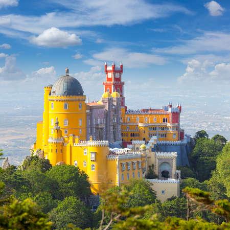 Famous Langmark - Nacional Palace of  Pena and blue sky - Sintra, Lisboa, Portugal, Europe