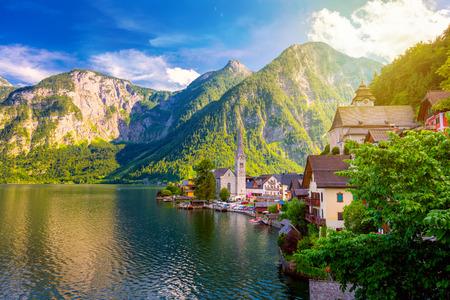 Foto de Picturesque view of old european town Hallstatt, beautiful village in Alps mountain near lake, Austria, Europe - Imagen libre de derechos