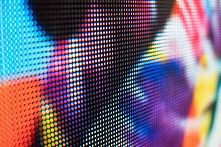 Photo pour Bright colored LED video wall with high saturated pattern - close up background with shallow depth of field - image libre de droit