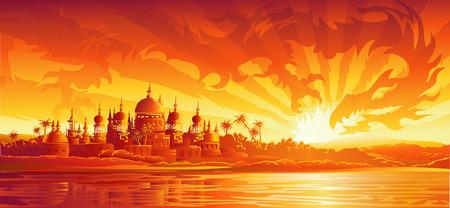 Illustration pour Golden city under golden sky (dragon version, other landscapes are in my gallery) - image libre de droit