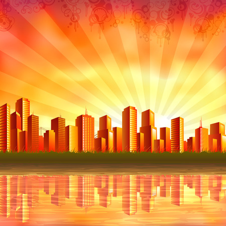 Illustration pour Big orange city reflecting in calm water at sunset (other landscapes are in my gallery) - image libre de droit