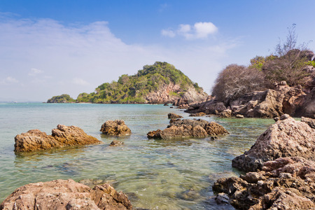 Rock beach on summer in Thailand Asia