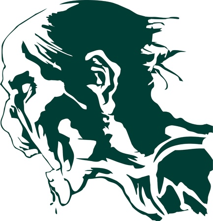 the hungry zombie head silhouette vector, undead
