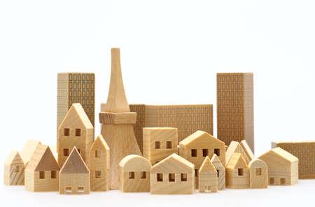 Photo pour Miniature buildings with miniature Tokyo tower - image libre de droit