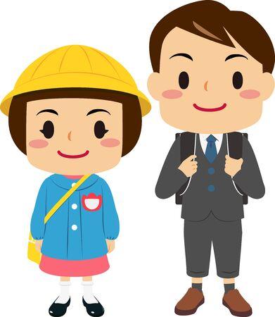 Ilustración de Illustrations of a boy in elementary school and a girl in kindergarten - Imagen libre de derechos