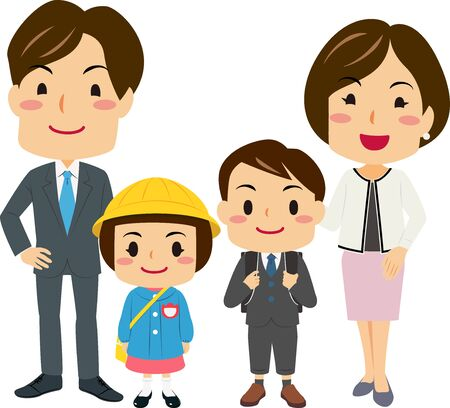 Illustration for Illustrations of parents Attended Their Daughters and Son's Entrance Ceremony - Royalty Free Image
