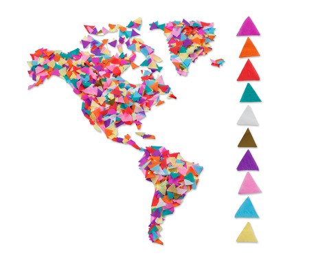 North and South America made of confetti and with clipping path