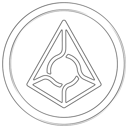 Augur - cryptocurrency coin. Vector thin line icon. Lineart illustration on white background. Internet money
