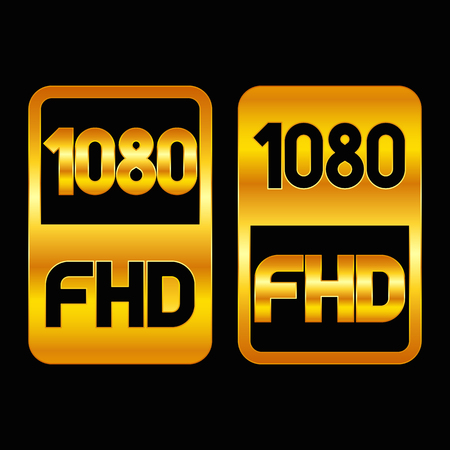 1080 Full HD format gold icon. Pure vector illustration on black background
