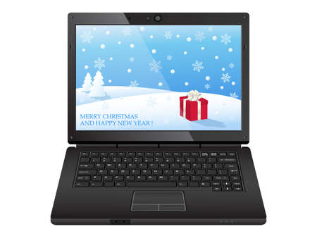 black laptop with christmas illustration