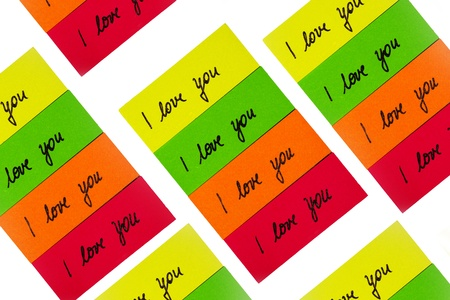 I love you inscription on color stickers