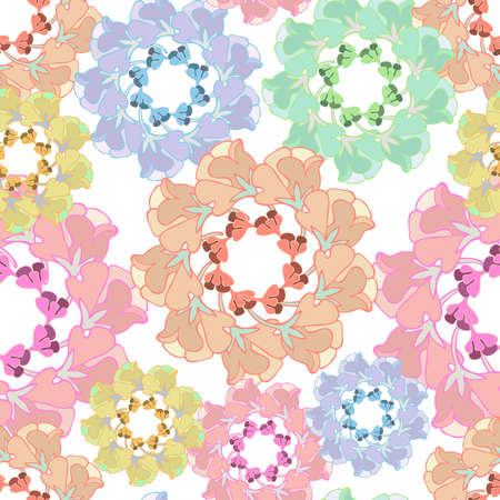 Illustration pour Seamless vector pattern with abstract flowers and leaves in circles - image libre de droit