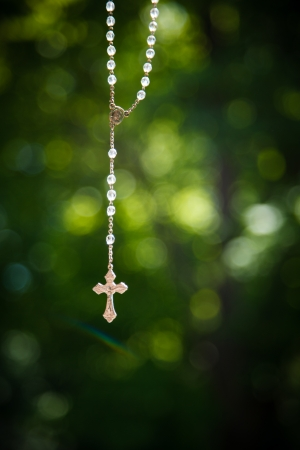 Crucifix hanged outside to pray for good weather on a wedding day
