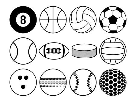 sports balls black and white
