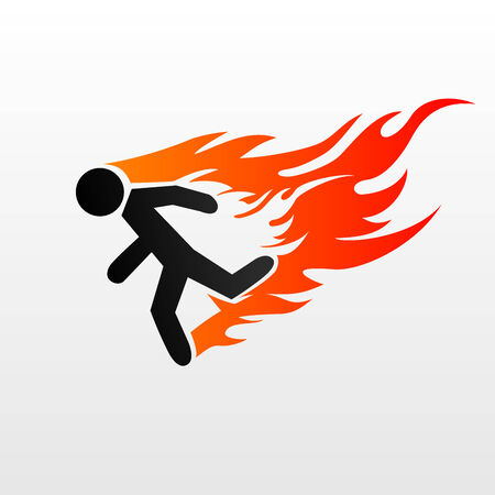 Vector illustration of a burning symbol of running man