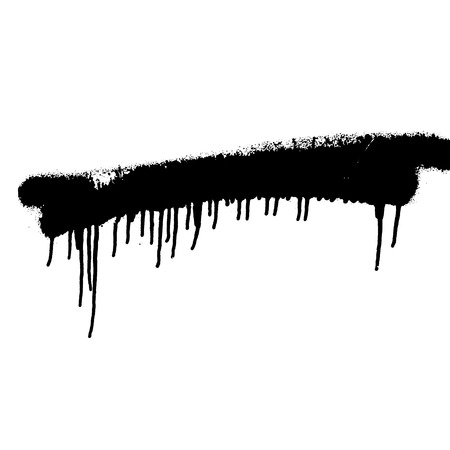 black spray paint on white isolated background