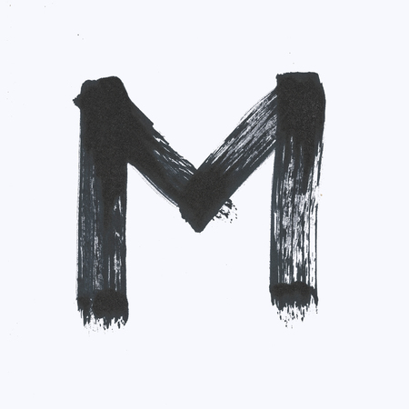 Capital black letter M on a white background.