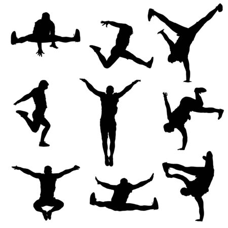 Illustration for vector silhouette of a modern male dancer on a white isolated white background - Royalty Free Image