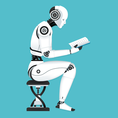 Illustration pour Vector Illustration, Robot machine learning data by reading a book - image libre de droit
