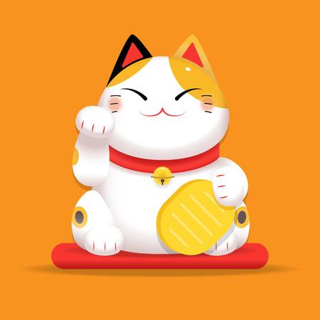 Ilustración de Vector gradient Illustration, White Maneki Neko raised right paw - Imagen libre de derechos