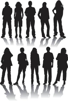 Illustration pour Vector silhouettes man and women, illustration - image libre de droit