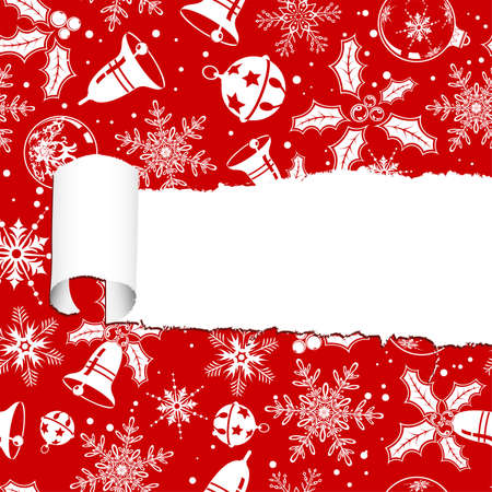 Torn christmas decorative paper with hole, element for design, illustration