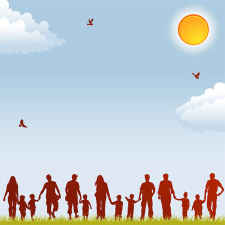 Silhouettes of family on nature background with bird, sun and grass, element for design, vector illustrationのイラスト素材