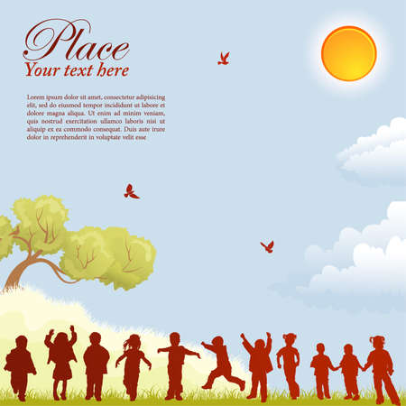 Silhouettes of children on nature background with bird, sun, tree and grass, element for design, vector illustration