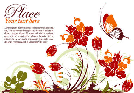 Grunge floral frame with butterfly
