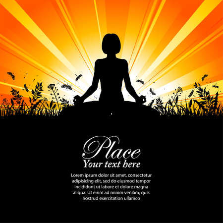 Silhouette of a Girl in Yoga pose on Nature background with grass, flower and butterfly