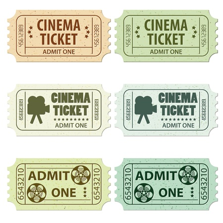 Set of Cinema Tickets in Different Colors and Styles, illustration