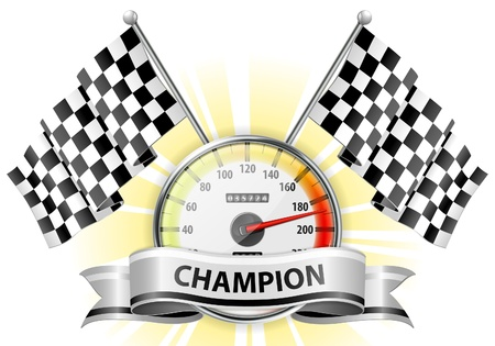 Illustration pour Concept - Winner, Champion. Detailed Car Speedometer with Flags and Ribbon, vector illustration - image libre de droit