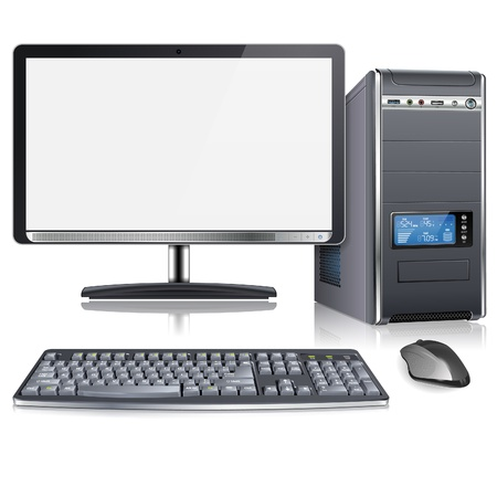 Ilustración de Realistic 3D Computer Case with Monitor, Keyboard and Mouse, isolated on white background, vector illustration - Imagen libre de derechos
