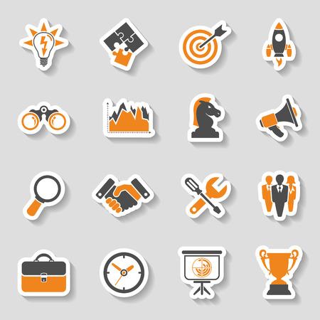Ilustración de Business Icon Sticker Set - Finance, Strategy, Idea, Research, Teamwork, Success. Vector in two color. - Imagen libre de derechos