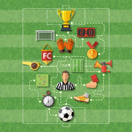Ilustración de Football Poster with Flat style icons  - Imagen libre de derechos