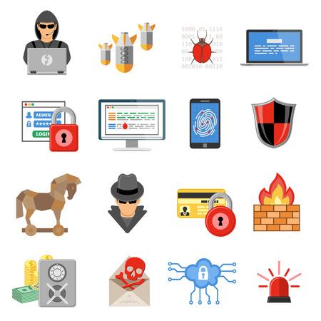 Illustration pour Internet Security Flat Icon Set - image libre de droit
