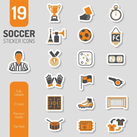 Ilustración de Soccer and Football Icon Sticker Set - Imagen libre de derechos