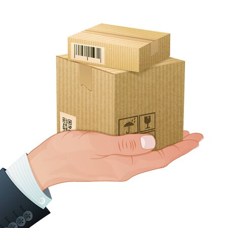Illustration pour Delivery Service Concept - Hand with Cardboard Boxes in Realistic 3D style. Vector Template can be used for Cover, Brochure, Poster and Printing Advertising. - image libre de droit