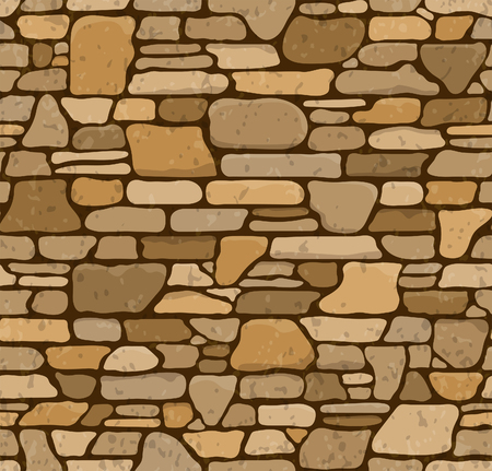 Illustration for Seamless Grunge Stone Brick Wall Texture. Vector Illustration. - Royalty Free Image