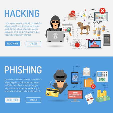Illustration for Cyber Crime Banners for Flyer, Poster, Web Site, Printing Advertising Like Hacker and Social Engineering. - Royalty Free Image