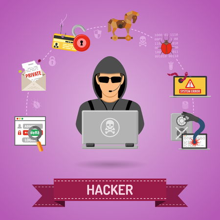 Illustration pour Cyber Crime Concept for Flyer, Poster, Web Site, Printing Advertising Like Hacker, Virus, Bug, Error, Spam and Social Engineering. - image libre de droit