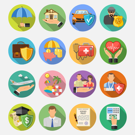 Ilustración de Insurance Round Flat Icons Set with Long Shadow for Poster, Web Site, Advertising like House, Car, Medical and Business . - Imagen libre de derechos