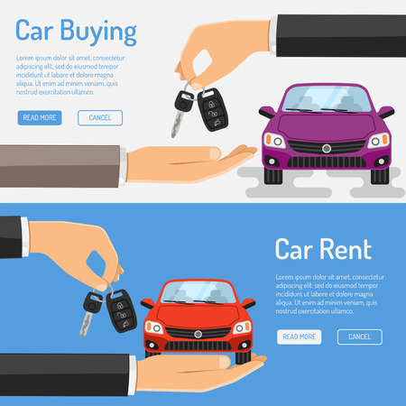 Ilustración de Rent amd Buying Car Banner for Poster, Web Site, Advertising like Hand, Car and Key. - Imagen libre de derechos