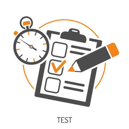 Education Flat Icon Set for Flyer, Poster, Web Site Like Test, Pencil and Stopwatch.